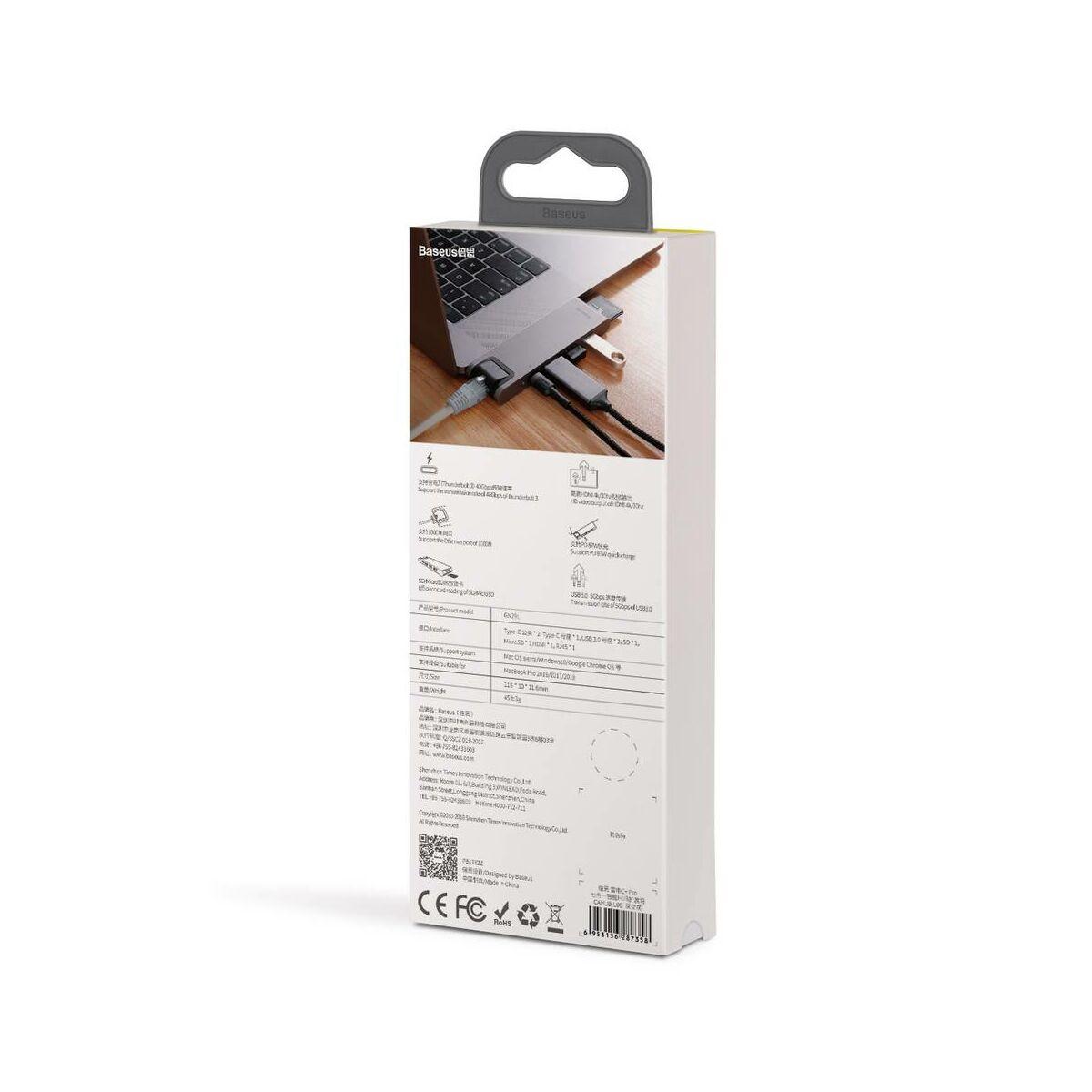 Baseus HUB, Thunderbolt C+Pro 7-in-1 (dual Type C bemenetről - SD/MicroSD/RJ45/2xUSB3.0/HDMI/Type-C) dokkoló állomás, szürke (CAHUB-L0G)