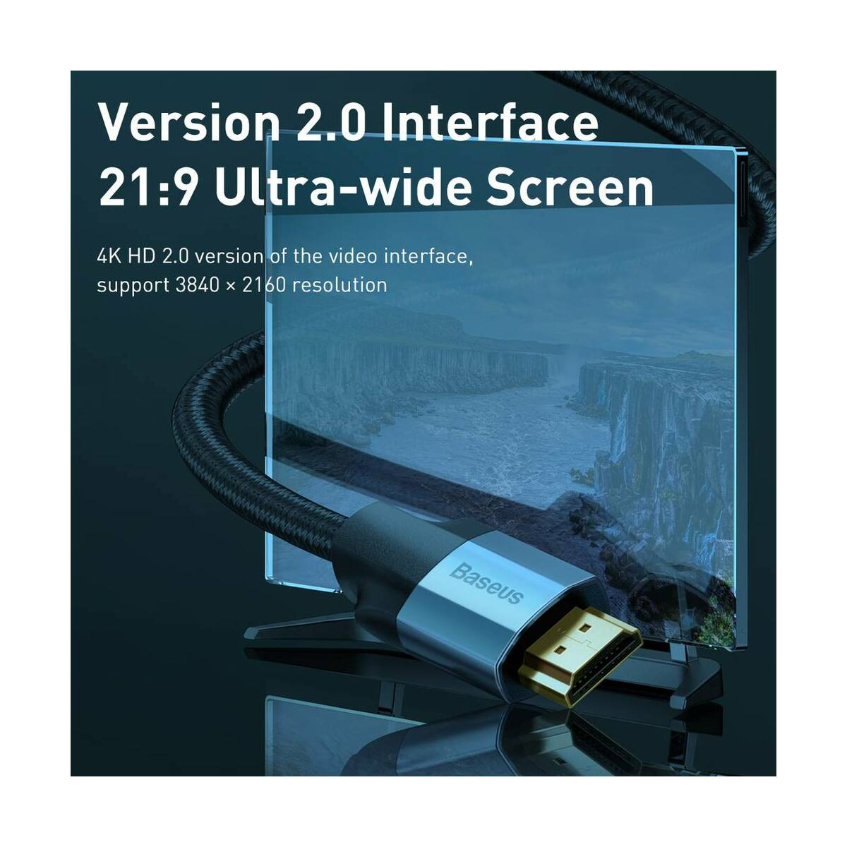 Baseus Video kábel Enjoyment Series 4KHD [apa] - 4KHD [apa] 5m, szürke (CAKSX-E0G)