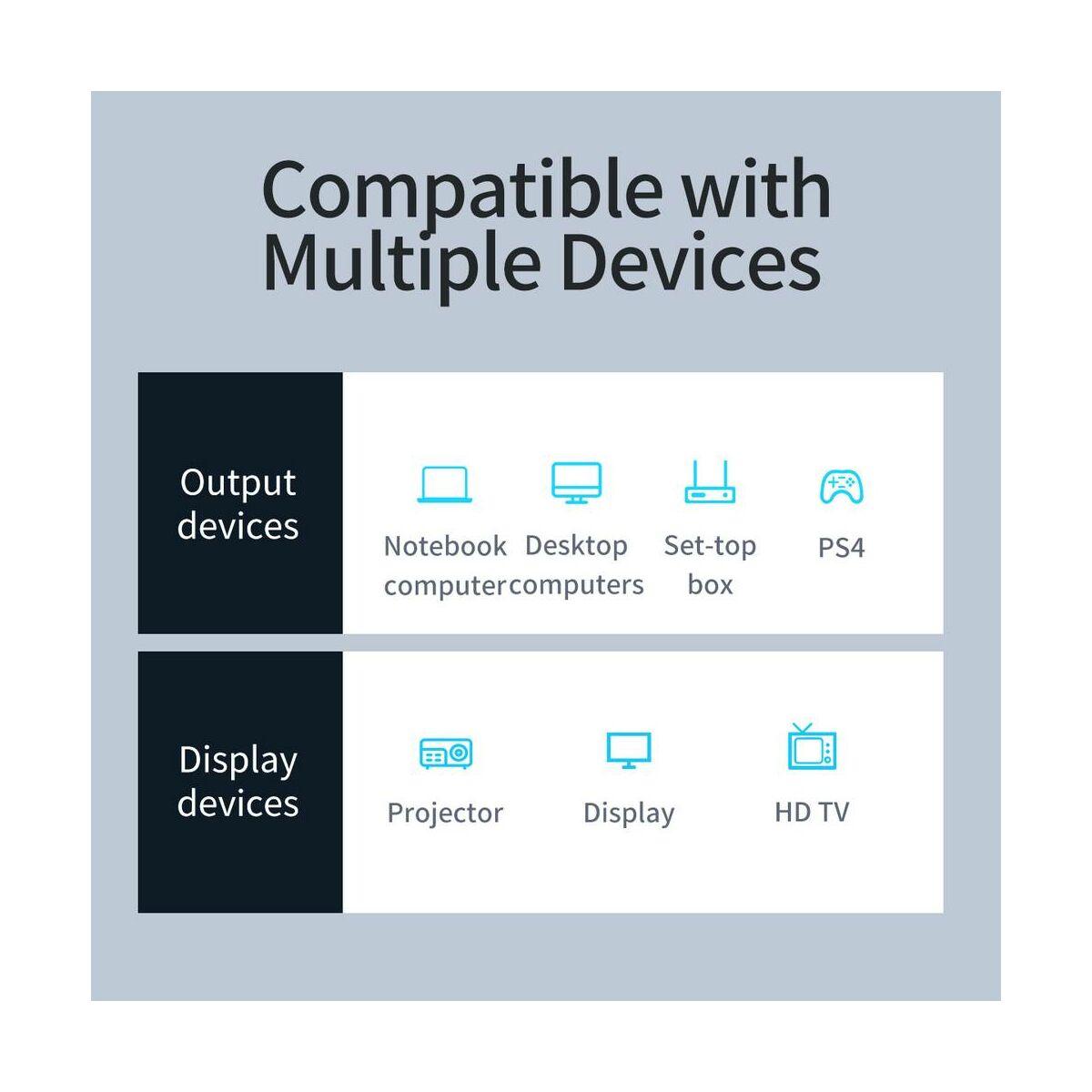 Baseus Video kábel Enjoyment Series 4KHD [apa] - DVI [apa] kétirányú, 2m, szürke (CAKSX-G0G)