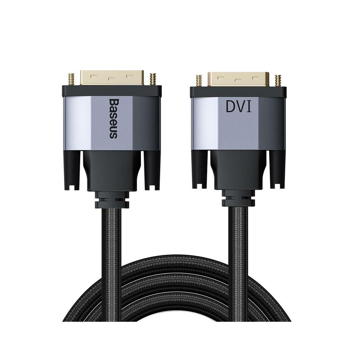 Baseus Videó kábel, Enjoyment Series, DVI [apa] - DVI [apa] kétirányú 2m, szürke (CAKSX-R0G)