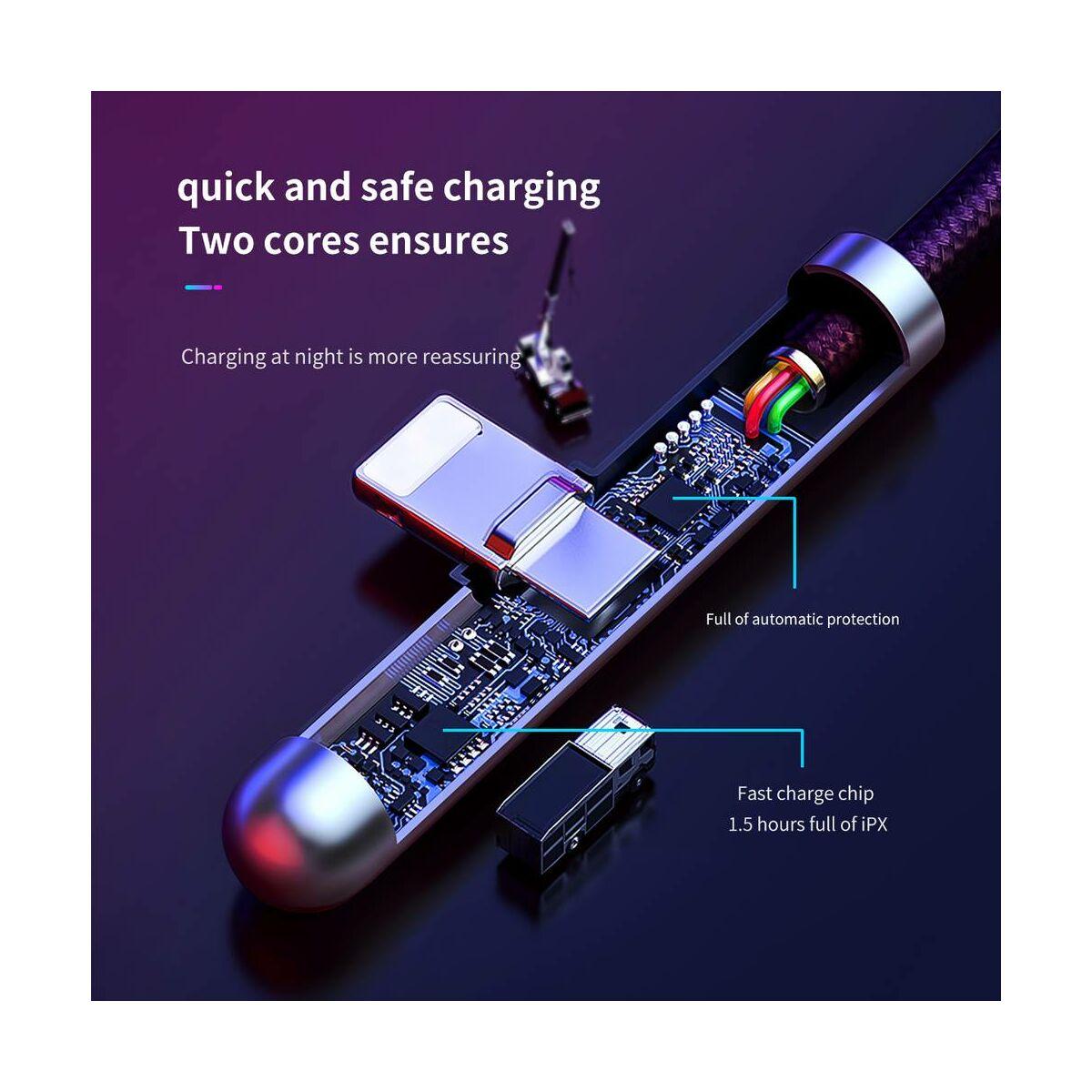 Baseus Lightning kábel, Iridescent Lamp LED-visszajelzős Mobilon játékhoz kábel, 2.4A 1m, fekete (CAL7C-A01)