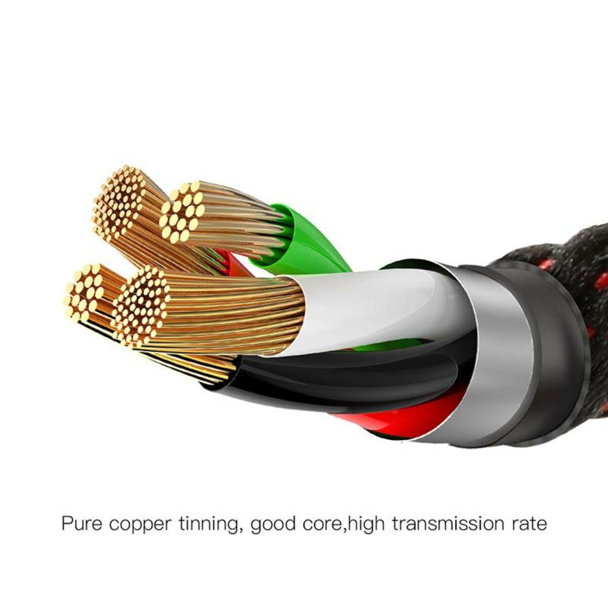 Baseus Lightning kábel, C-shaped intelligens töltés lekapcsolás, LED-visszajelzős adatkábel, fekete 2.4A, 1m (CALCD-01)