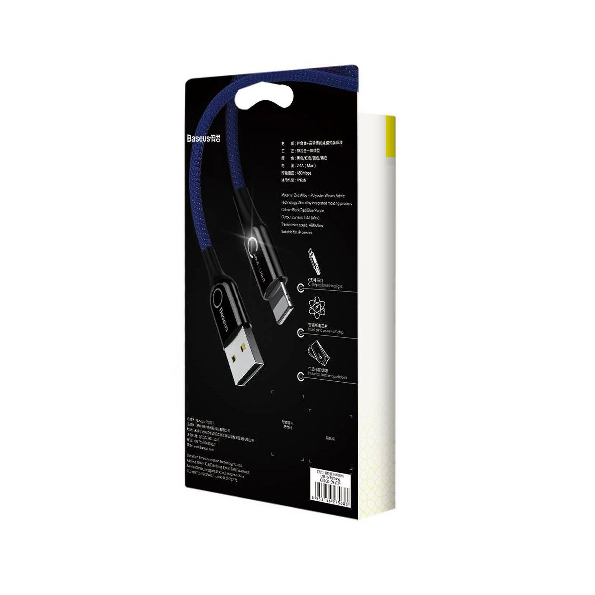 Baseus Lightning kábel, C-shaped intelligens töltés lekapcsolás, LED-visszajelzős adatkábel, kék 2.4A, 1m (CALCD-03)