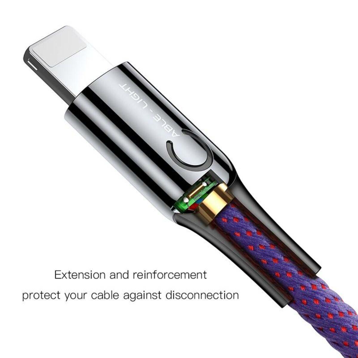 Baseus Lightning kábel, C-shaped intelligens töltés lekapcsolás, LED-visszajelzős adatkábel, 2.4A, 1m, lila (CALCD-05)