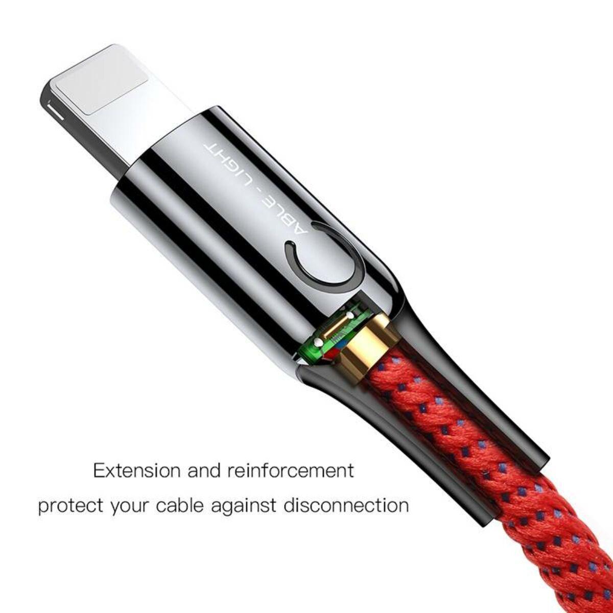 Baseus Lightning kábel, C-shaped intelligens töltés lekapcsolás, LED-visszajelzős adatkábel, 2.4A, 1m, piros (CALCD-09)
