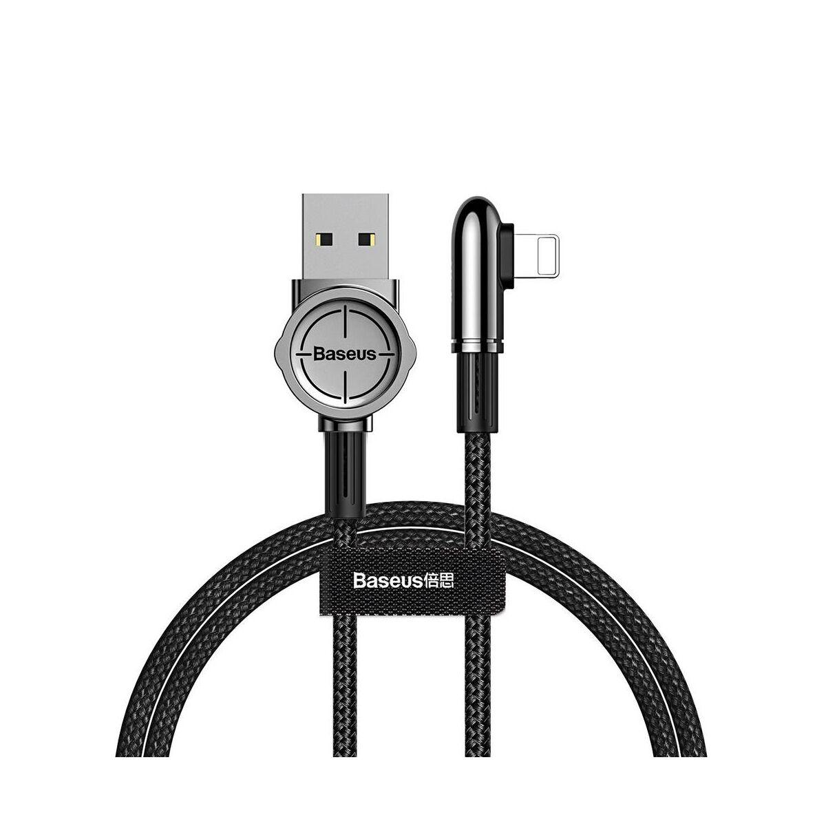 Baseus Lightning kábel, Exciting Mobile Game, lekerekített L-alakú csatlakozó, 2.4A, 1m, fekete (CALCJ-A01)