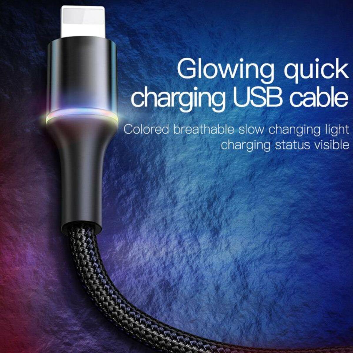 Baseus Lightning kábel, Halo, változó színű töltés/státusz-jelző LED, 2.4A, 1m, fekete (CALGH-B01)