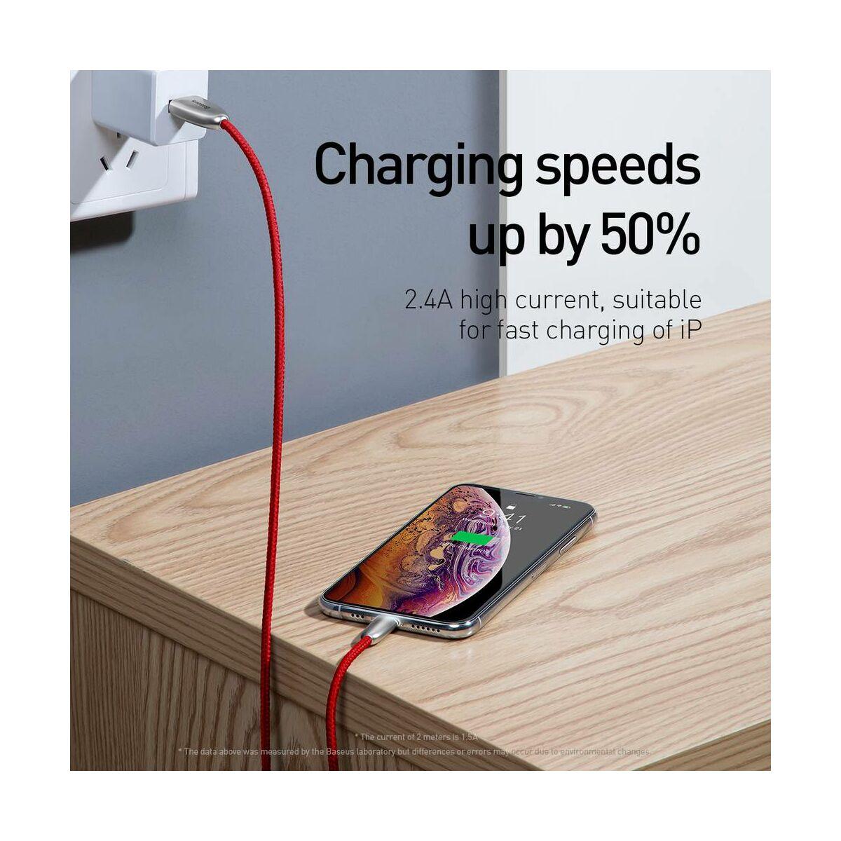 Baseus Lightning kábel, Torch Series adatkábel (kábel végén LED lámpával) 2.4A, 1m, fekete (CALHJ-C01)