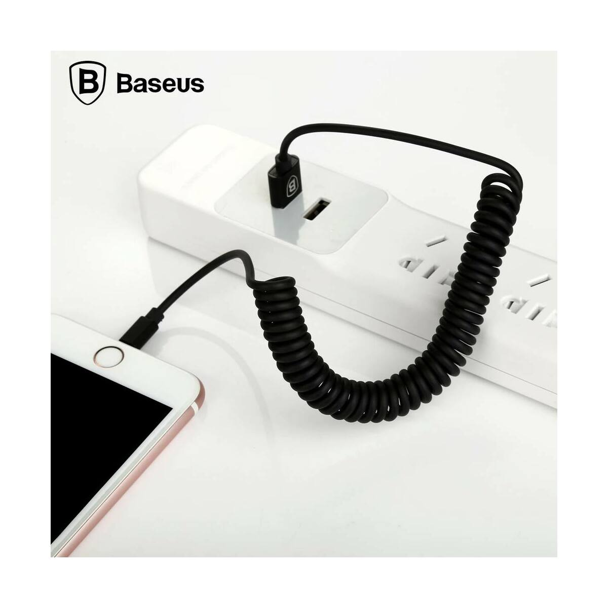 Baseus Lightning kábel, Elastic rugalmas adatkábel, 1.8A, 1.6m, fekete (CALIGHTNG-EL01)