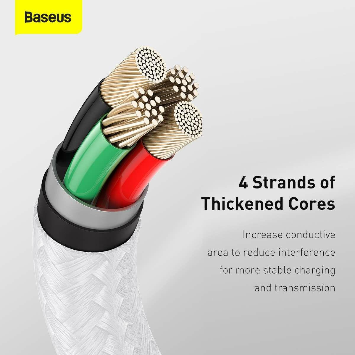 Baseus Lightning kábel, Cafule Series Metal adatkábel, 2.4A, 1m, fehér (CALJK-A02)