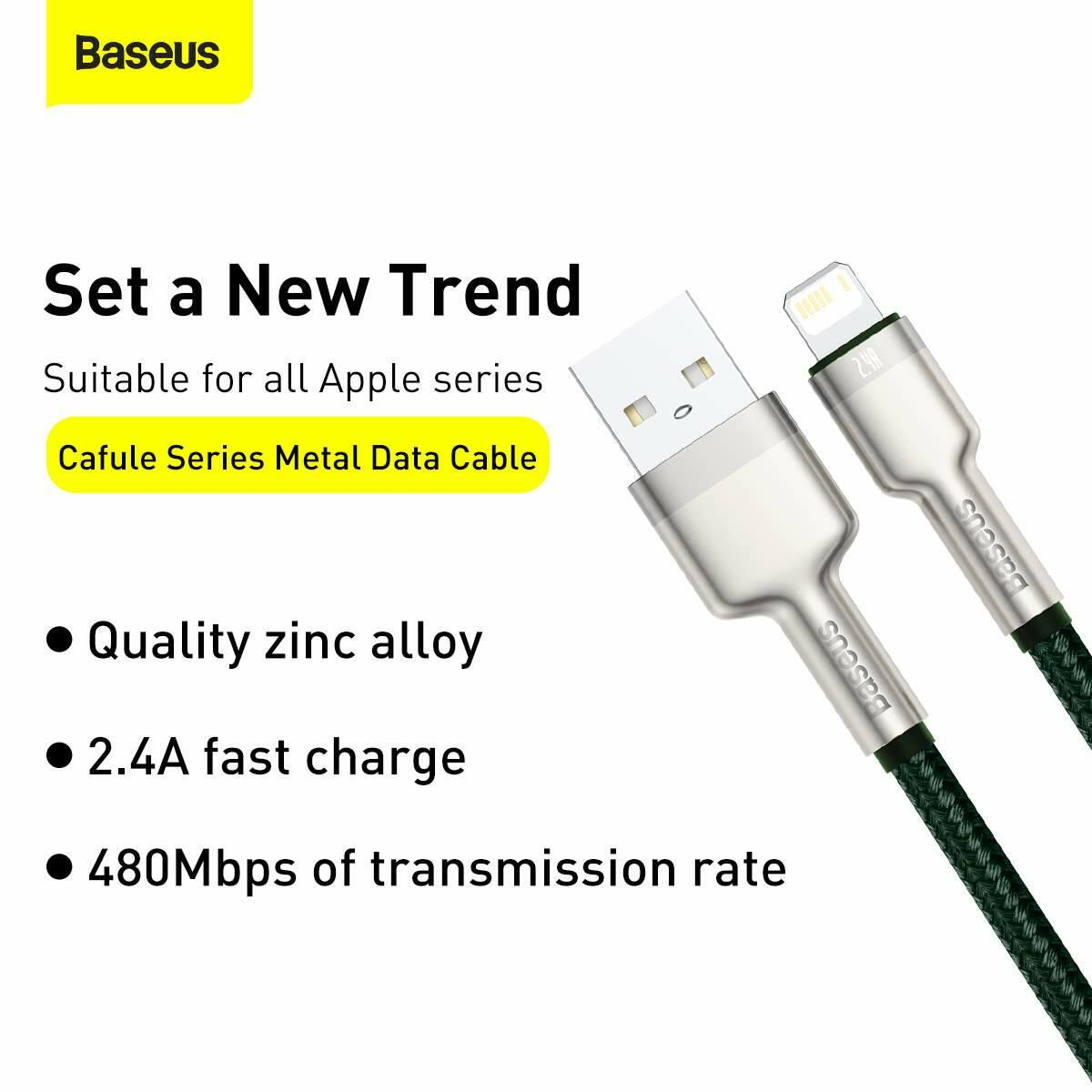 Baseus Lightning kábel, Cafule Series Metal adatkábel, 2.4A, 1m, zöld (CALJK-A06)