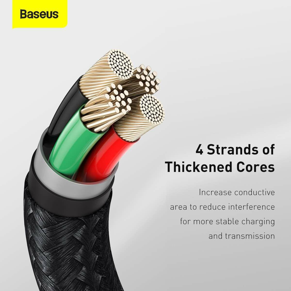 Baseus Lightning kábel, Cafule Series Metal adatkábel, 2.4A, 2m, fekete (CALJK-B01)