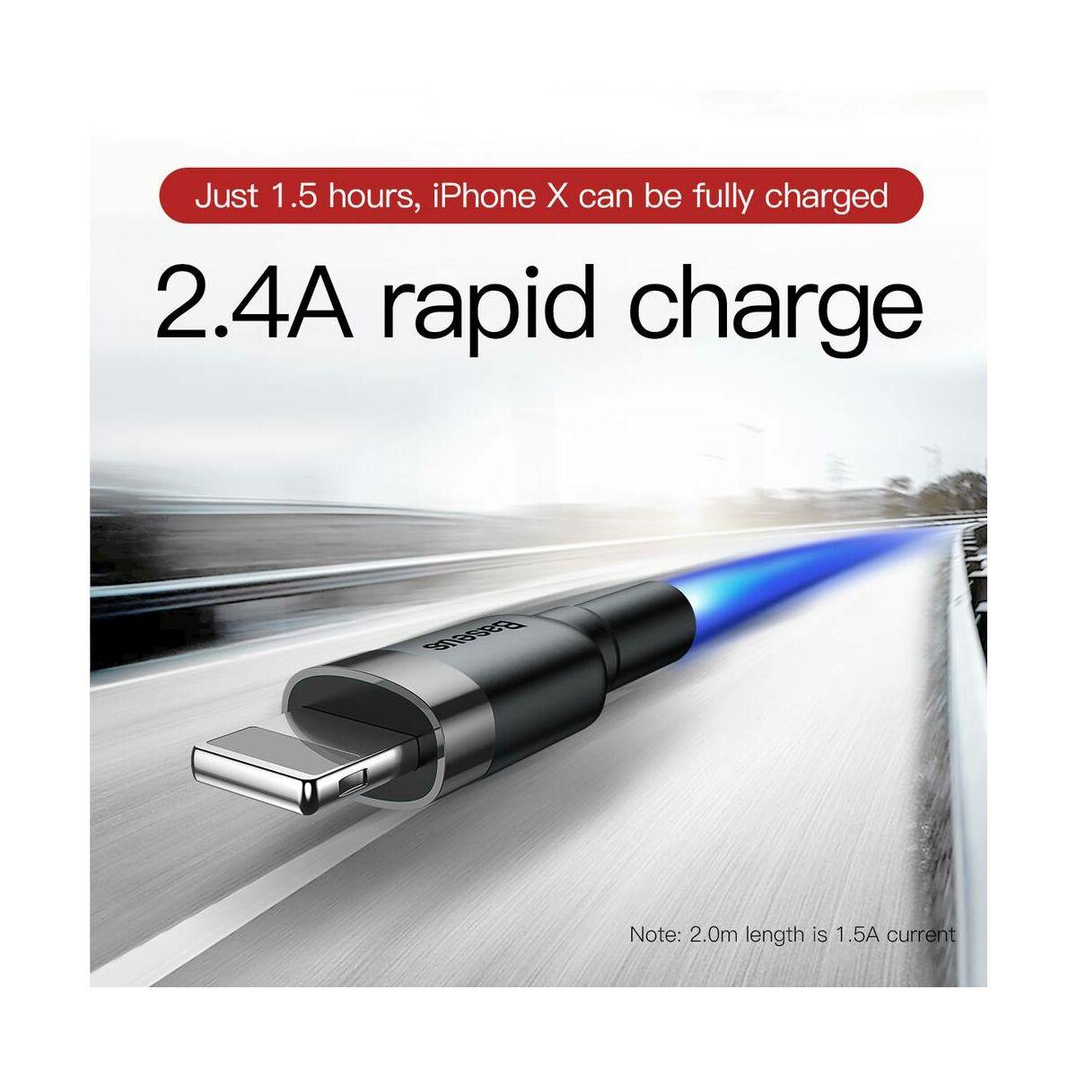 Baseus Lightning kábel, Cafule 2.4A, 0.5m, szürke/fekete (CALKLF-AG1)