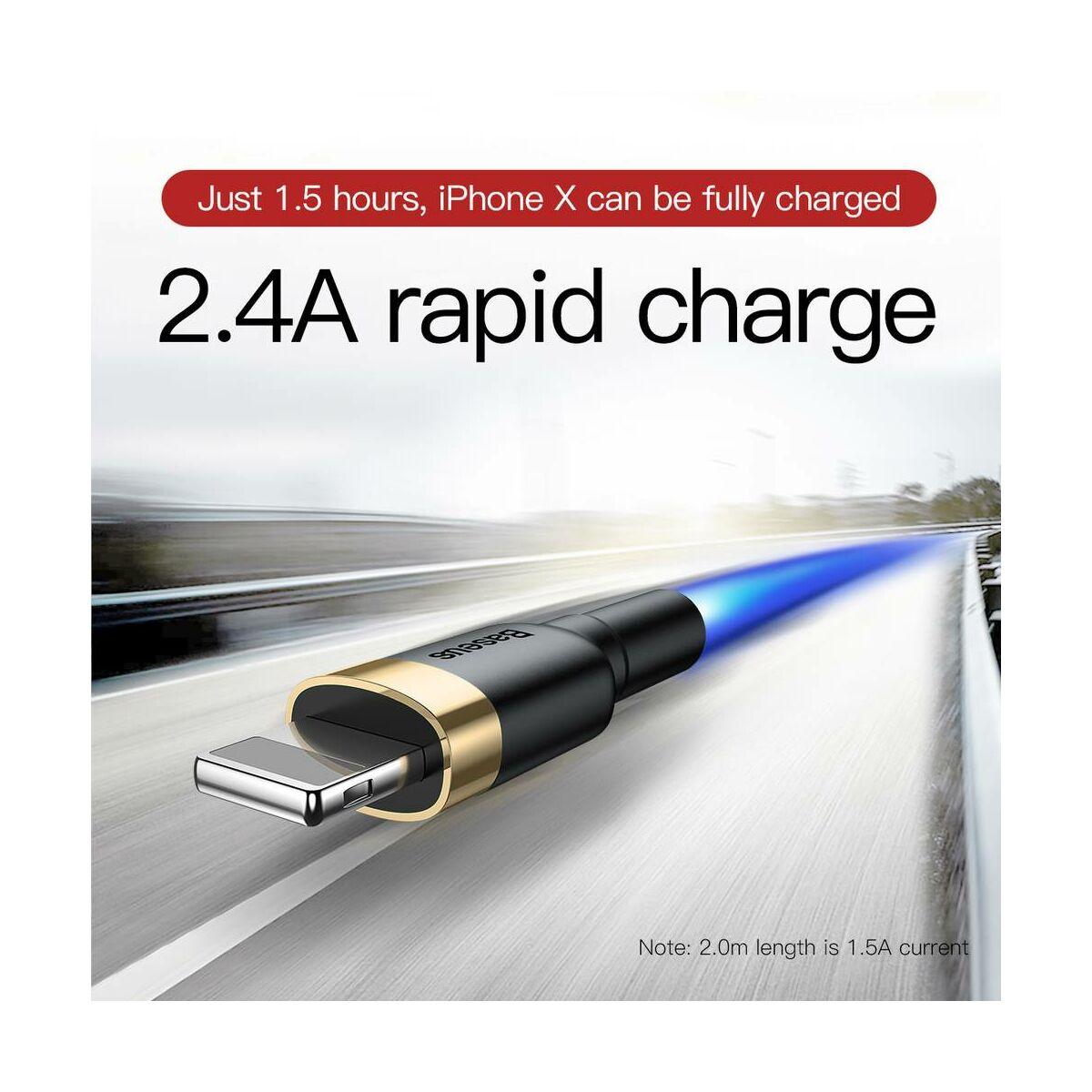 Baseus Lightning kábel, Cafule 2.4A, 0.5m, arany/fekete (CALKLF-AV1)