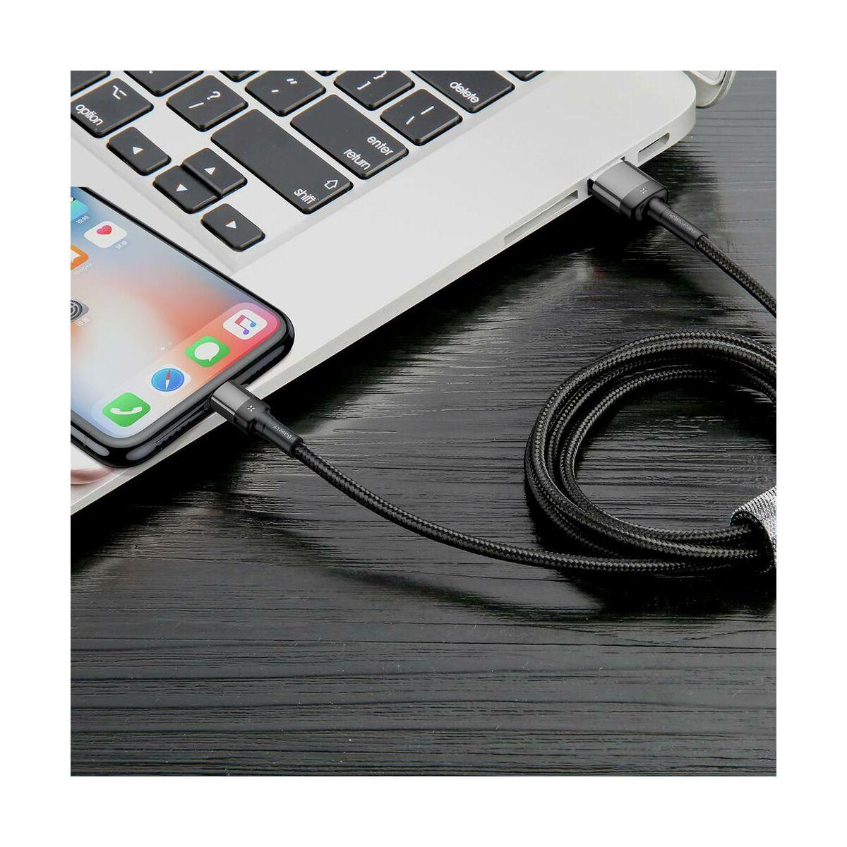 Baseus Lightning kábel, Cafule (special edition) 1.5A, 2m, szürke/fekete (CALKLF-HG1)