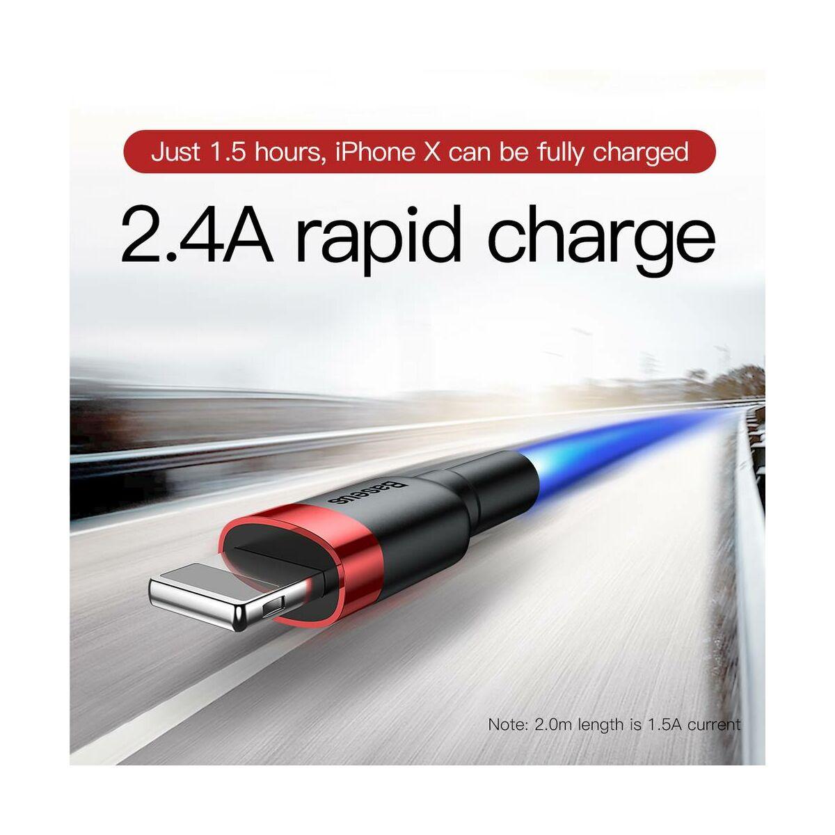 Baseus Lightning Cafule kábel, 2A, 3m, piros/fekete (CALKLF-R91)