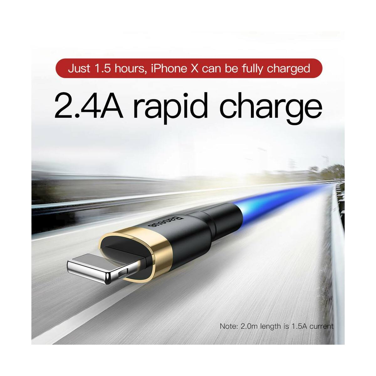 Baseus Lightning Cafule kábel, 2A, 3m, arany/fekete (CALKLF-RV1)