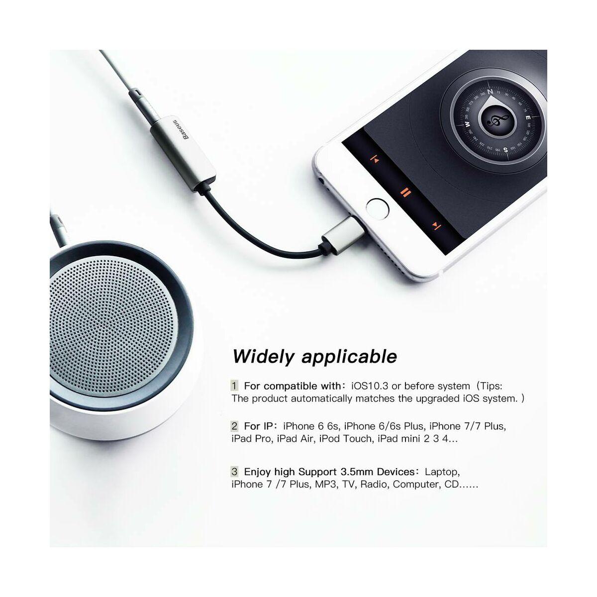 Baseus átalakító, L32 Lightning[apa] - 3.5 mm + Lightning[anya] adapter, fekete/ezüst (CALL32-0S)