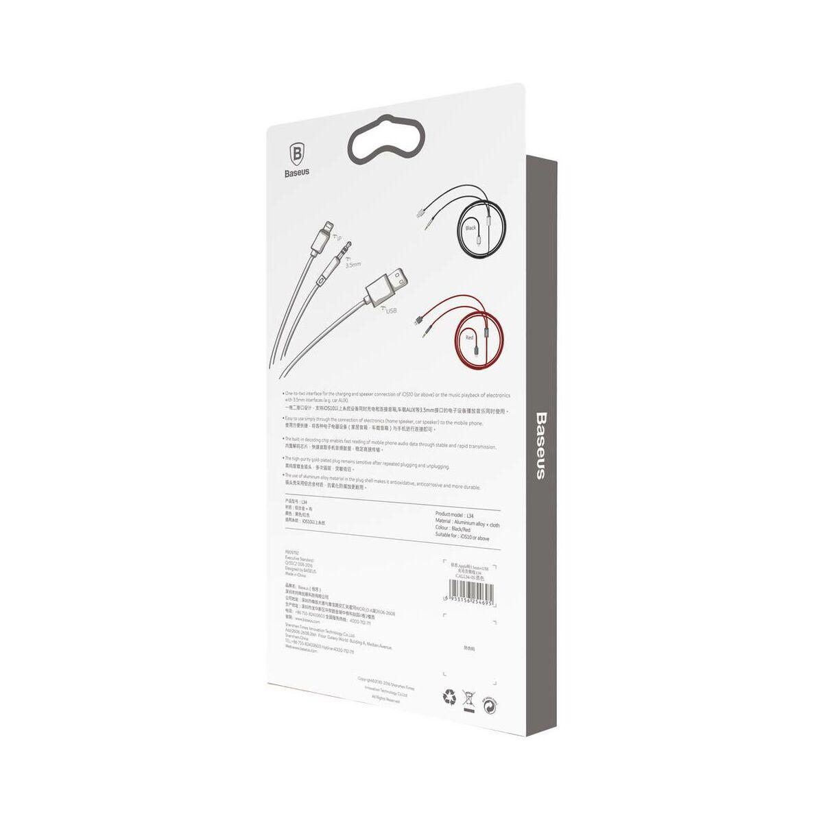 Baseus átalakító, L34 Lightning + 3.5 mm + USB töltő Audio kábel, ezüst/fekete (CALL34-0S)