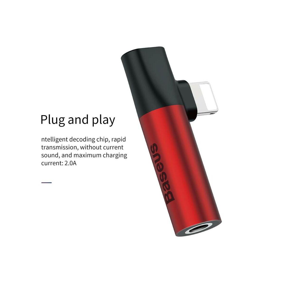 Baseus átalakító, L43 Lightning - Lightning + 3.5 mm, Jack audio, piros/fekete (CALL43-91)