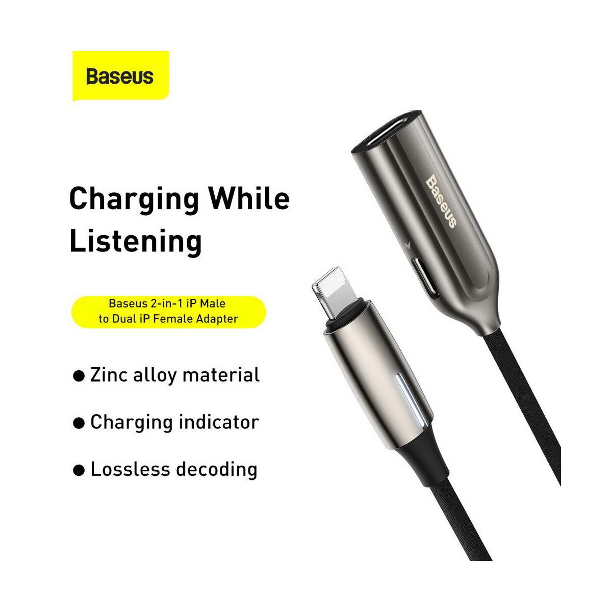 Baseus átalakító, L55 2-in-1 Lightning [apa] – Dual Lightning [anya] (CALL55-0A)