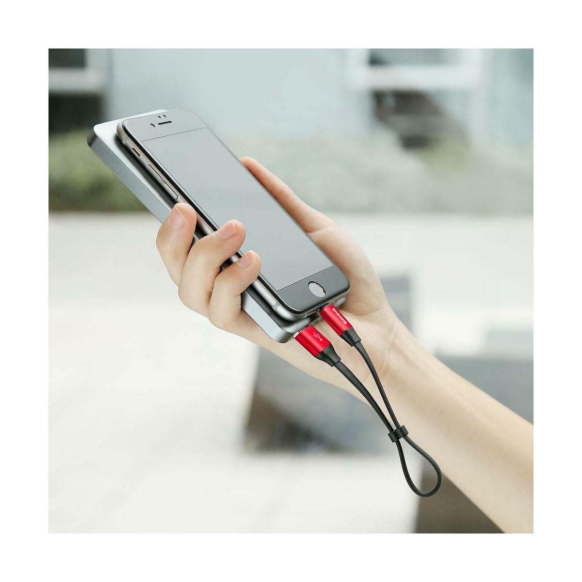 Baseus kábel, Lightning, Nimble mini lapos kábel, 2A, 0.23m, fekete/piros (CALMBJ-B91)