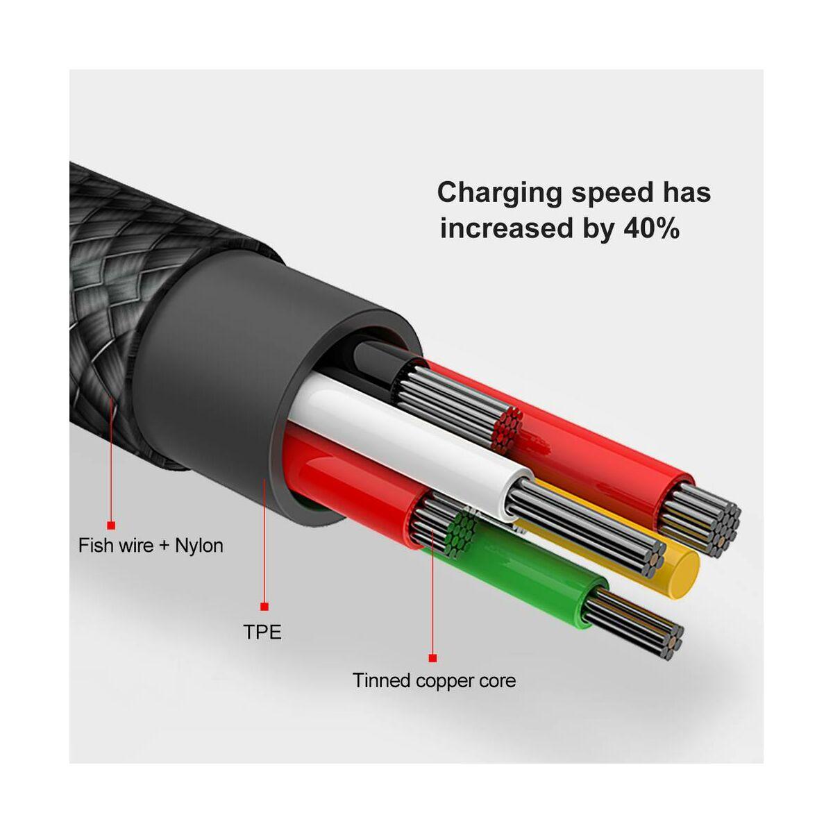Baseus Lightning kábel, MVP Elbow Type, L-alakú csatlakozó, 1.5A, 2m, fekete (CALMVP-A01)