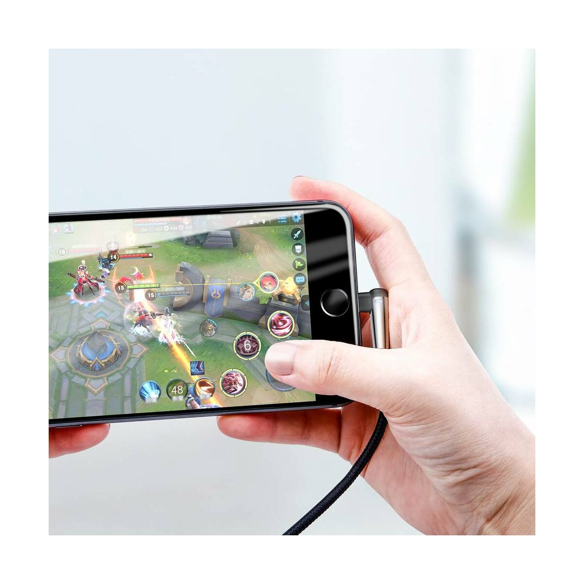Baseus Lightning kábel, Sharp-bird Mobile Game, L-alakú csatlakozó, 2.4A, 1m, fekete (CALMVP-D01)