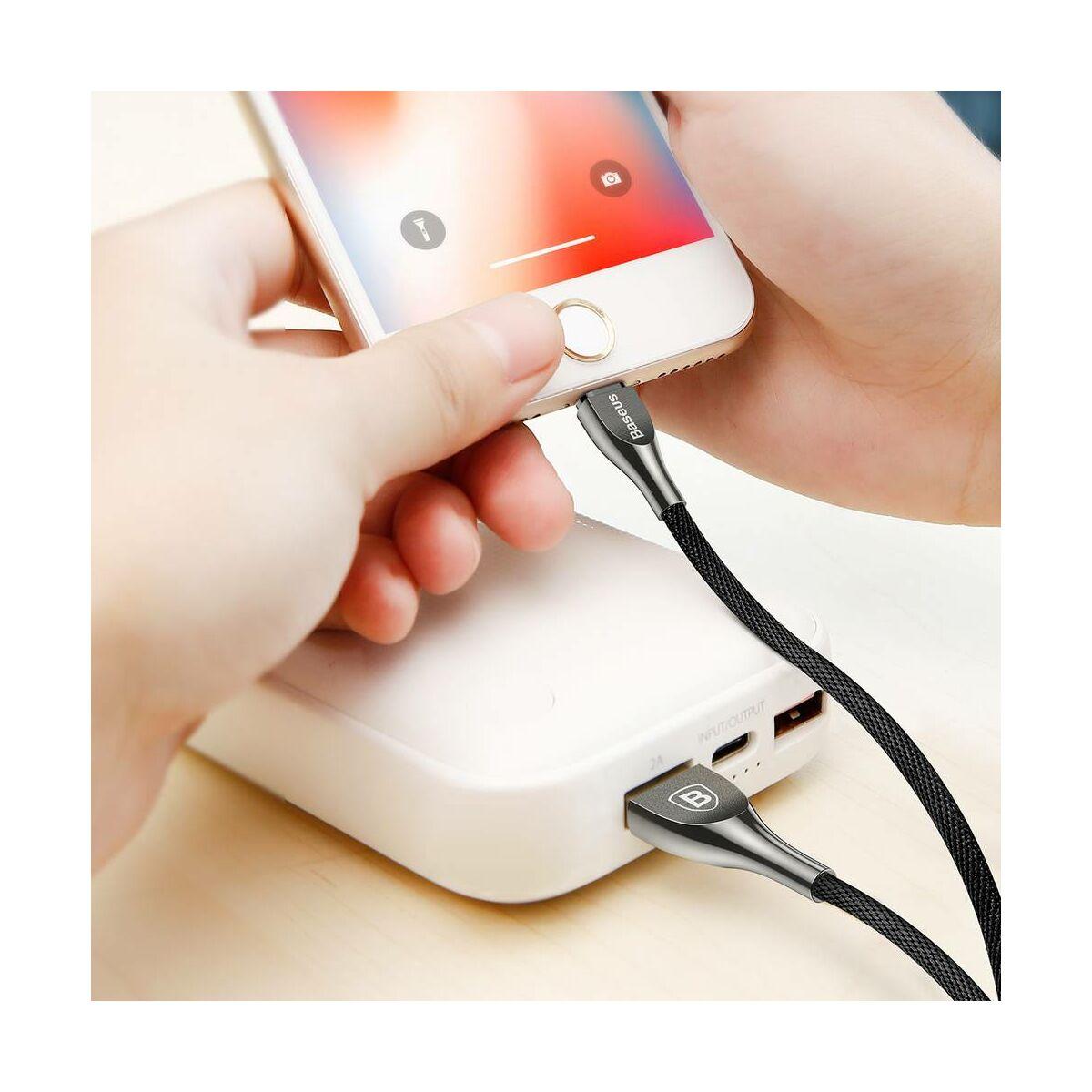 Baseus Lightning kábel, (iPhone 5/6/7/8/X modellekhez) Mageweave Cink ötvözet, 1m, fekete (CALMW-01)