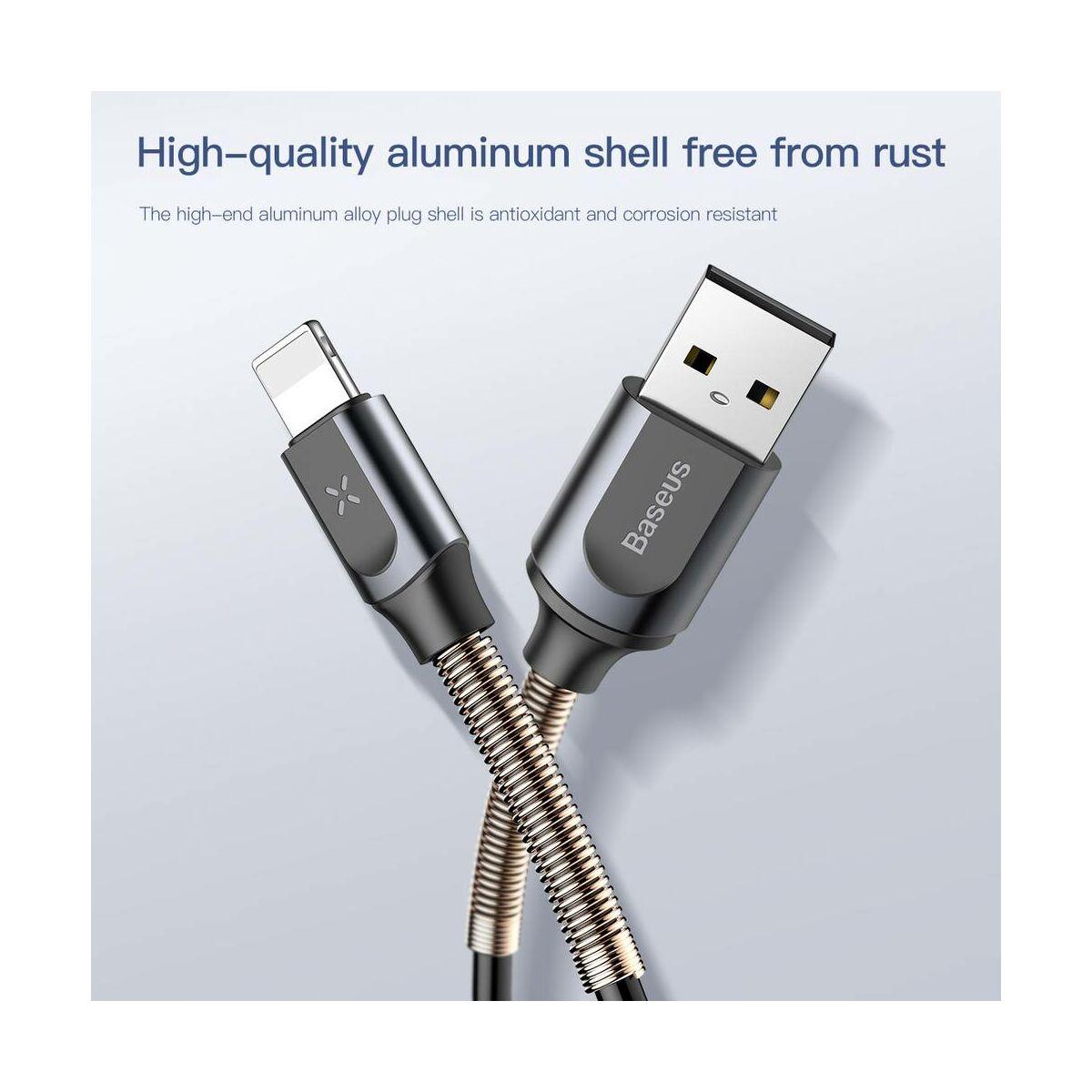 Baseus Lightning kábel, Double spring, flexibilis spirálivezeték, 2A, 1.2m, rózsaarany (CALSH-0R)