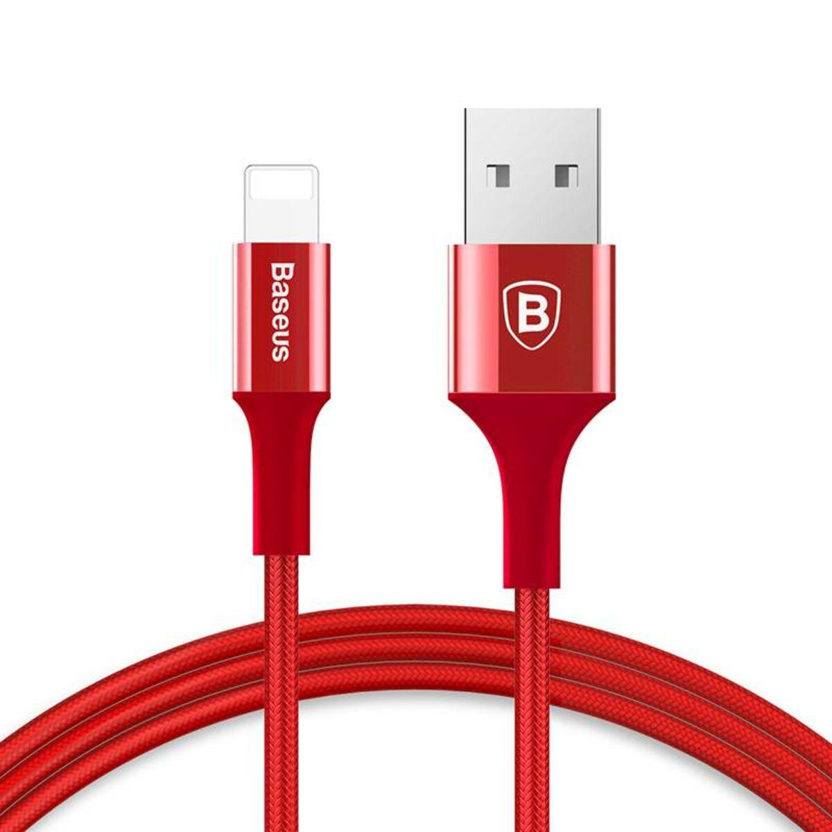 Baseus Lightning kábel, Shining LED fényes töltő csatlakozóval Jet metal 2A, 1m, piros (CALSY-09)