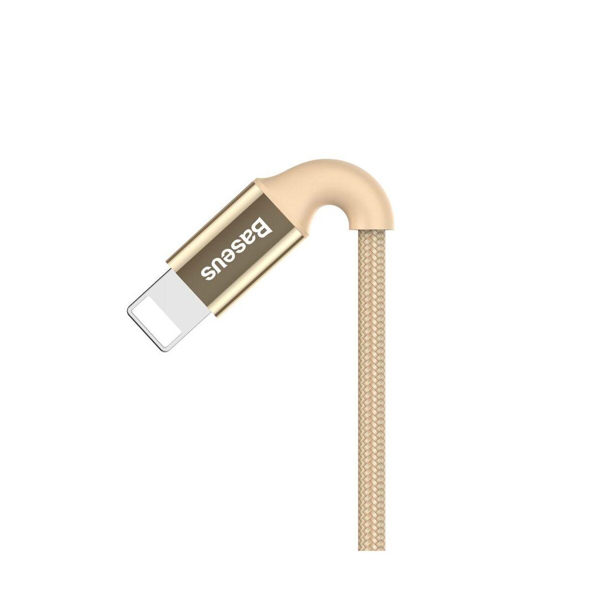 Baseus Lightning kábel, Shining LED fényes töltő csatlakozóval Jet metal 2A, 1m, arany (CALSY-0V)