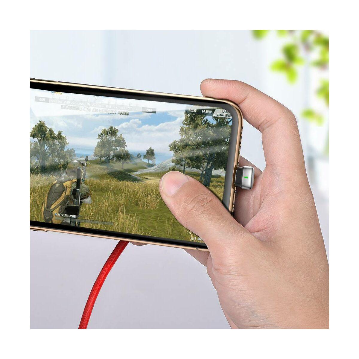 Baseus Lightning kábel, U-shaped Mobile Game, U-alakú csatlakozó, zöld töltés/státusz-jelző LED, 2.4A, 1m, piros (CALUX-A09)
