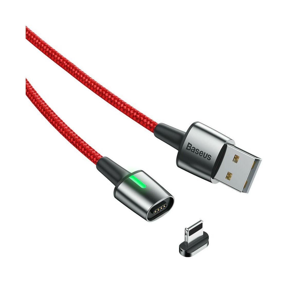 Baseus Mágneses kábel, Lightning, Mágnessel csatlakozó töltő kábel, 2.4A 1m, piros (CALXC-A09)