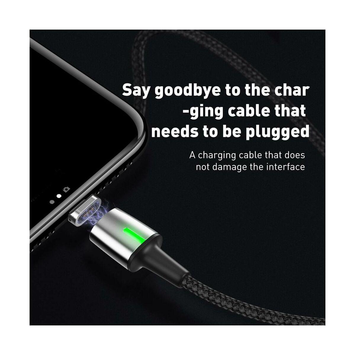 Baseus Mágneses kábel, Lightning, Mágnessel csatlakozó töltő kábel, 1.5A, 2m, fekete (CALXC-B01)