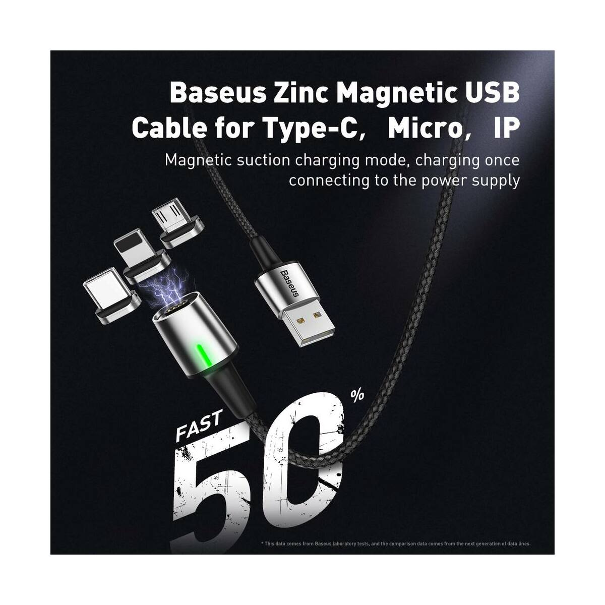 Baseus Mágneses kábel, Lightning Mágnessel csatlakozó töltő kábel, 1.5A, 2m, piros (CALXC-B09)
