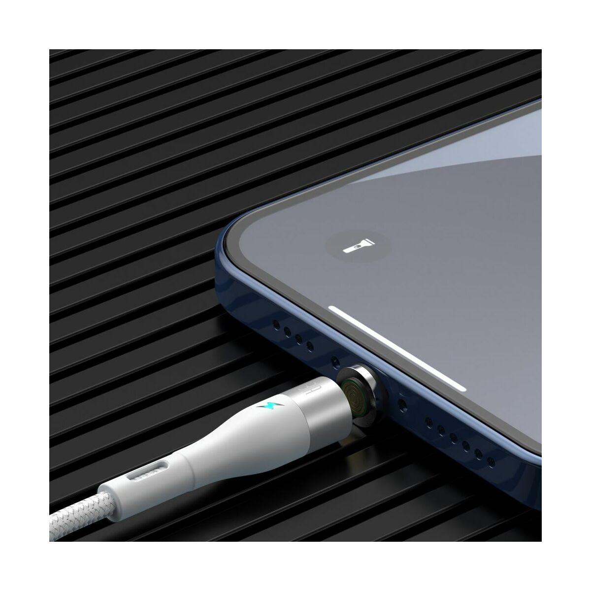 Baseus Lightning Mágnessel csatlakozó töltő kábel, 2.4A, 1m, fehér (CALXC-K02)