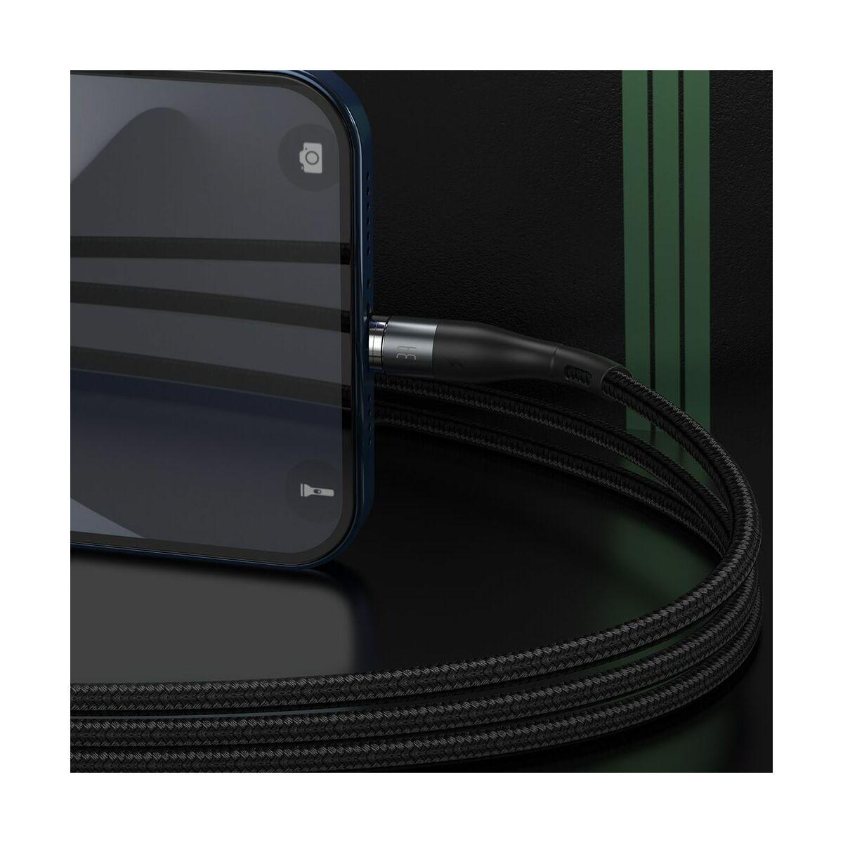 Baseus Lightning Mágnessel csatlakozó töltő kábel, 2.4A, 1m, fekete/szürke (CALXC-KG1)