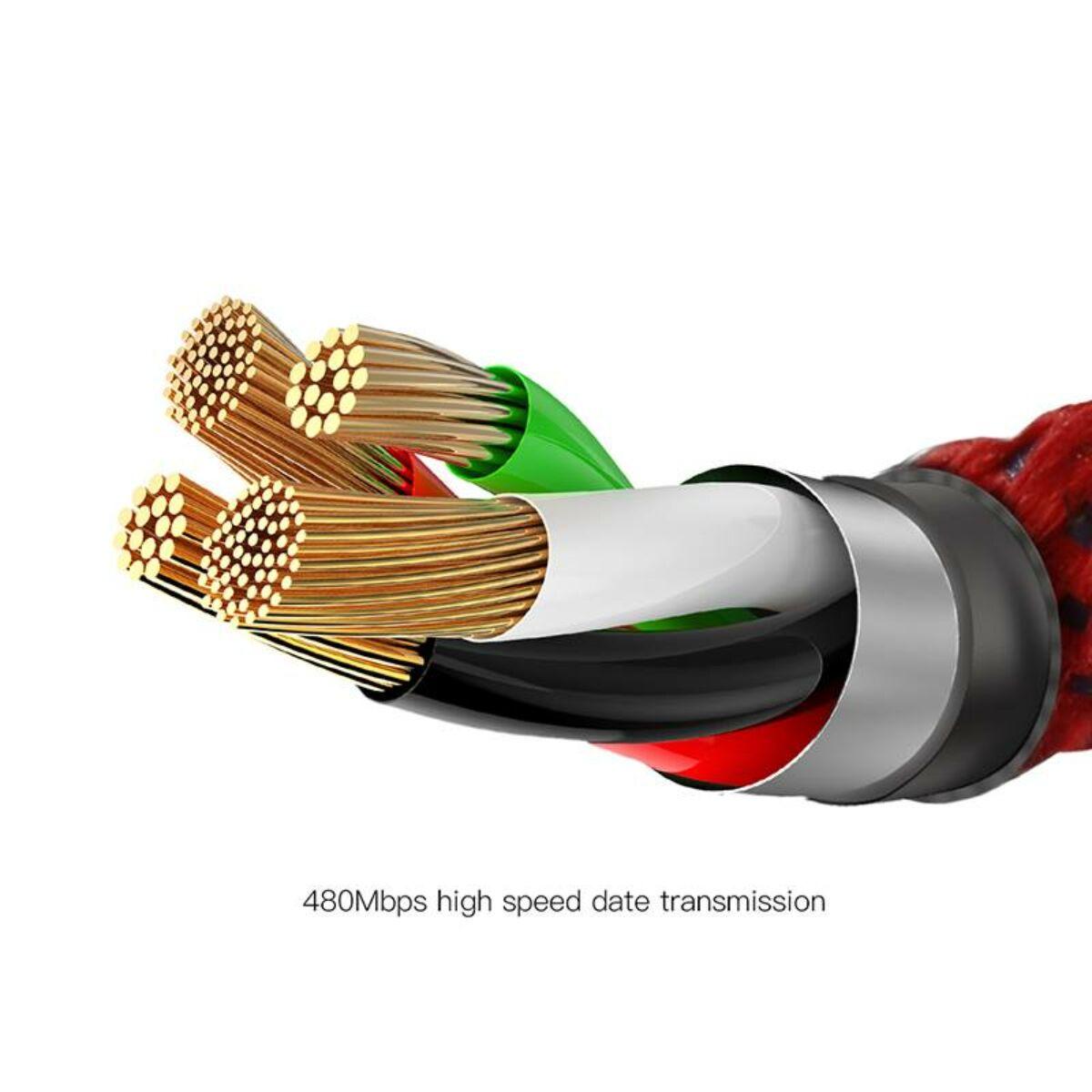 Baseus Lightning kábel, X-Light, X-formájú töltés/státusz-jelző LED, 2.4A, 0.5m, piros (CALXD-A09)