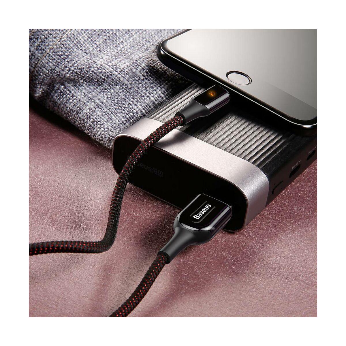 Baseus Lightning kábel, X-Light, X-formájú töltés/státusz-jelző LED, 2.4A, 1m, fekete (CALXD-B01)
