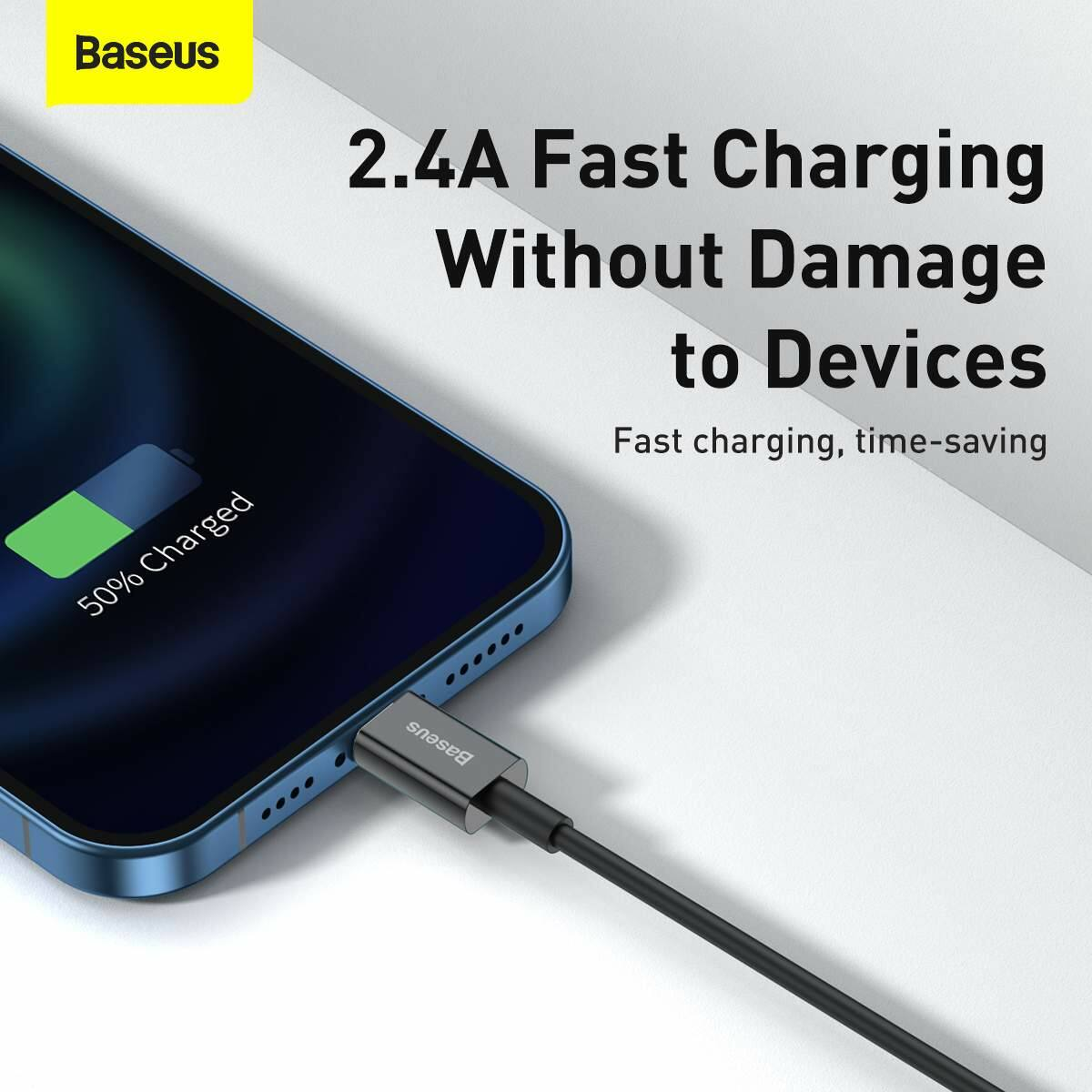 Baseus Lightning Superior Series kábel, Gyors töltés, Adatkábel 2.4A, 1m, fekete (CALYS-A01)
