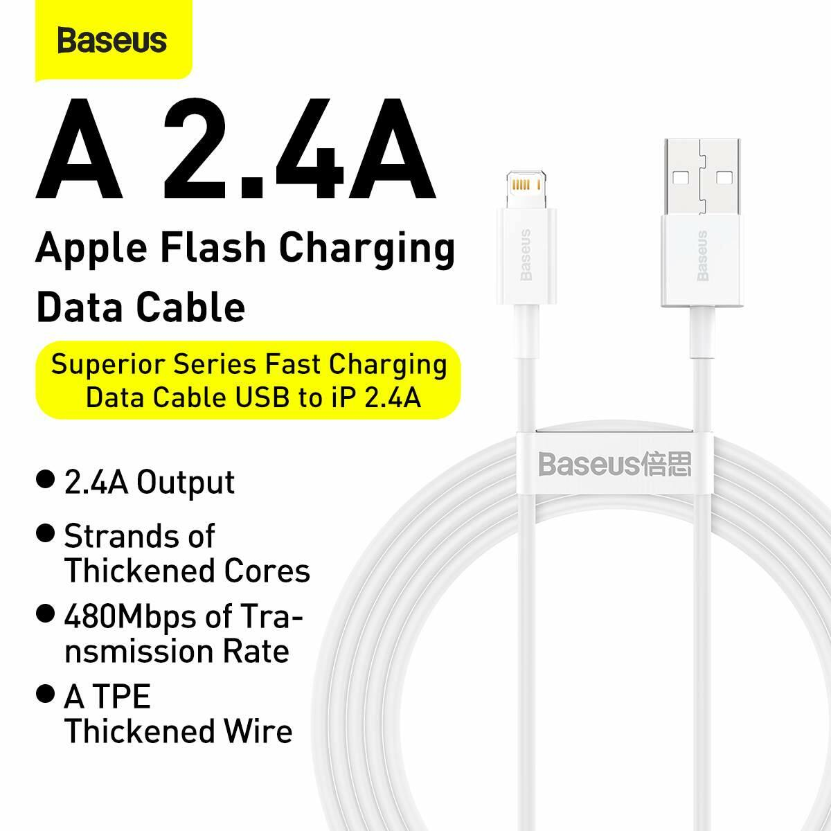 Baseus Lightning Superior Series kábel, Gyors töltés, Adatkábel 2.4A, 1m, fehér (CALYS-A02)