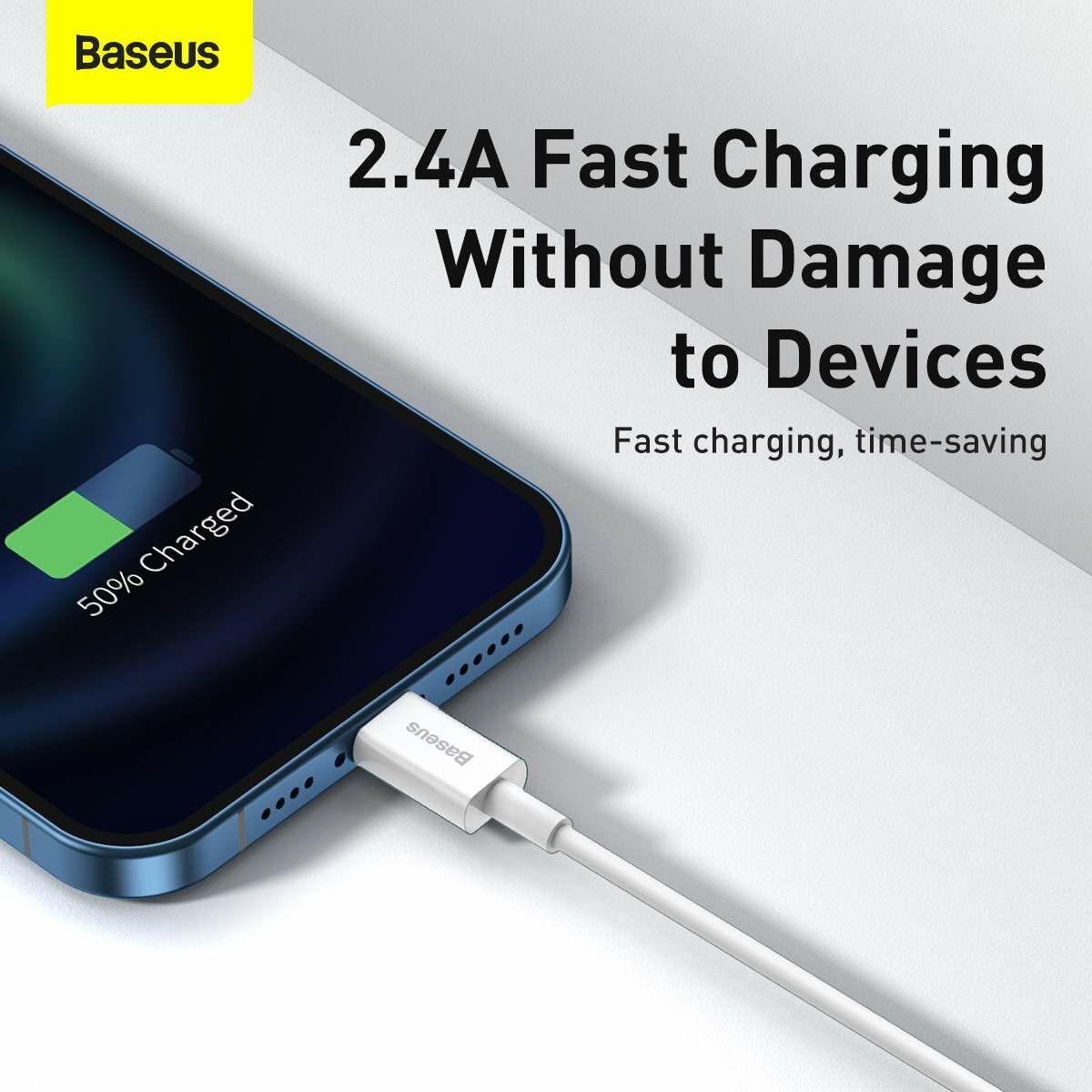 Baseus Lightning Superior Series kábel, Gyors töltés, Adatkábel 2.4A, 2m, fehér (CALYS-C02)