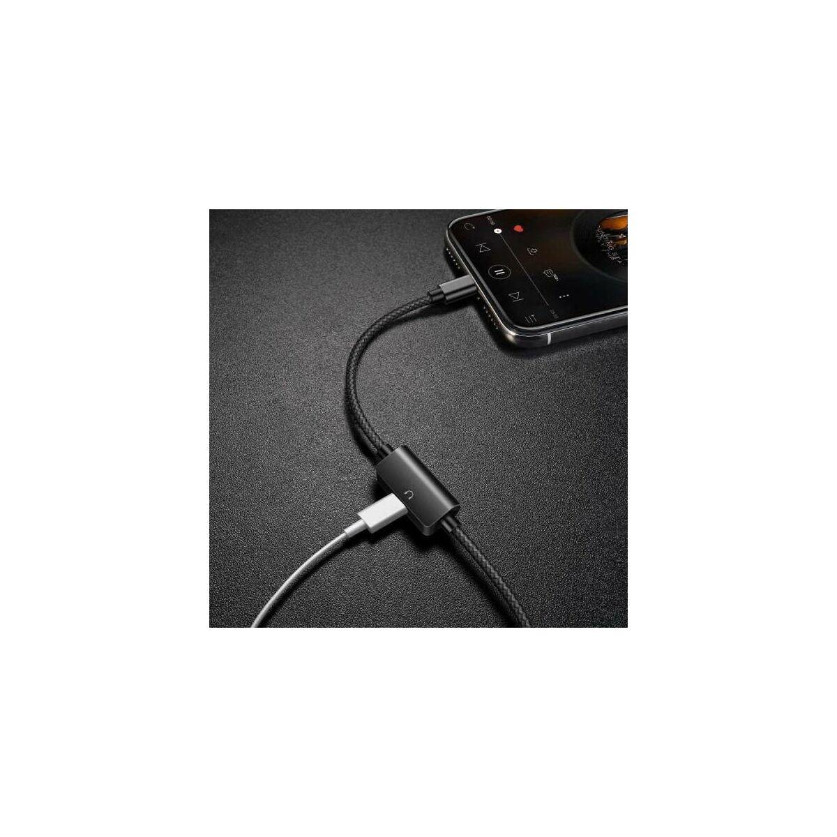 Baseus Audio kábel, Music series Audio, 2-in-1 multifunkciós(Lightning[apa] + Lightning[anya] port), 2A, 1m, fekete (CALYU-01)