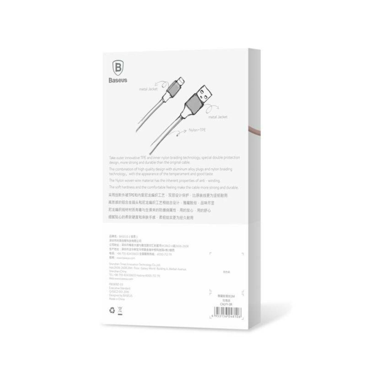 Baseus Lightning kábel, Yashine 2A, 1m, rózsaarany (CALYY-0R)