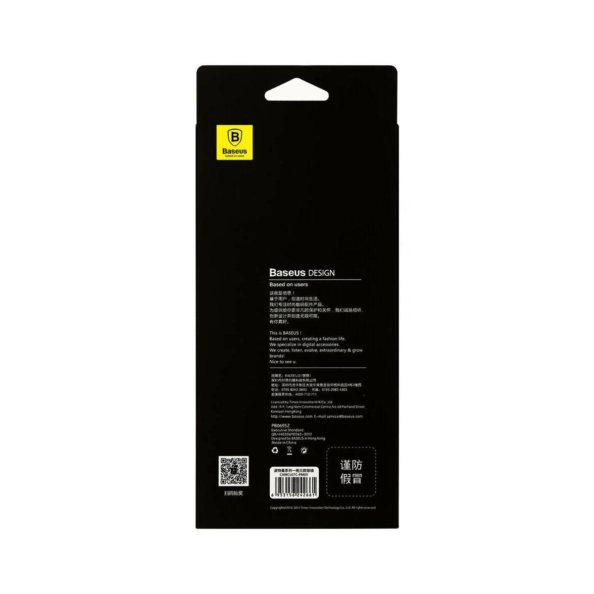 Baseus Univerzális kábel, Portman series, 3-in1 multifunkciós(micro USB + Lightning + Type-C), 2.1A, 1.2m, luxus arany (CAMCLGTC-PM0V)