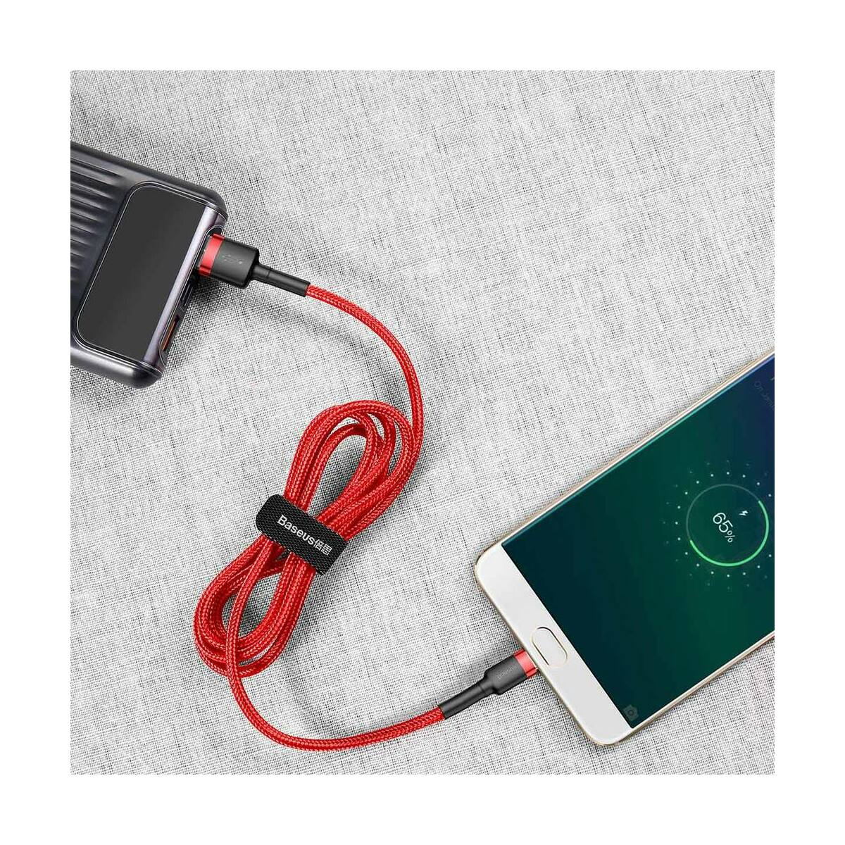 Baseus Micro USB kábel, Cafule 2.4A, 0.5m, piros/piros (CAMKLF-A09)