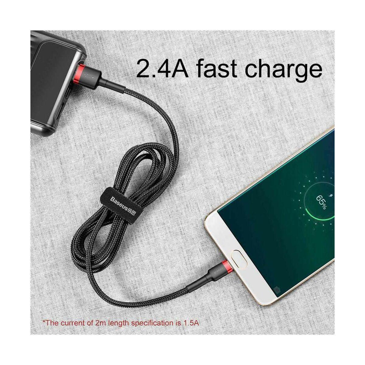 Baseus Micro USB kábel, Cafule 2.4A, 0.5m, piros/fekete (CAMKLF-A91)