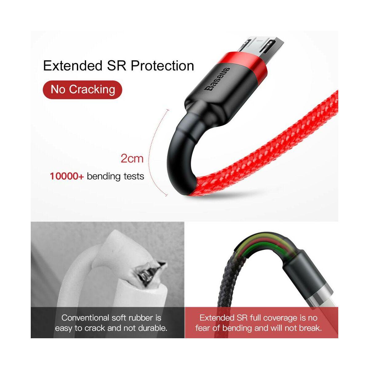 Baseus Micro USB kábel, Cafule 2.4A, 1m, piros/piros (CAMKLF-B09)