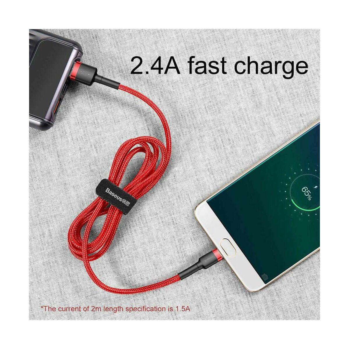 Baseus Micro USB kábel, Cafule 1.5A, 2m, piros/piros (CAMKLF-C09)